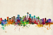 Urban Watercolor Digital Art Metal Prints - Seattle Washington Skyline Metal Print by Michael Tompsett