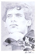 Motorsport Drawings - Senna by Robin DaSilva