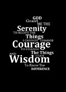 Aa Framed Prints - Serenity Prayer 5 - Simple Black And White Framed Print by Sharon Cummings