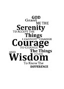 Aa Framed Prints - Serenity Prayer 6 - Simple Black And White Framed Print by Sharon Cummings