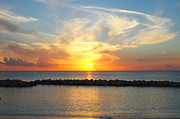 Sea Shell Digital Art Photo Posters - Seven Mile Sunset over Grand Cayman Poster by Amy McDaniel