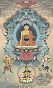 Tibet Mixed Media Prints - Shakyamuni Buddha Print by Chris  Banigan