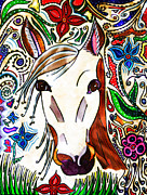 Fanciful Metal Prints - She Grazes Where Flowers Grow - Horse Metal Print by Marie Jamieson