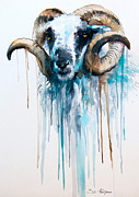 Animal Mixed Media Metal Prints - Sheep Metal Print by Lyubomir Kanelov