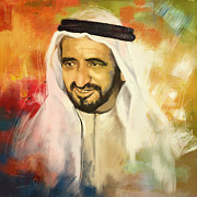 Dubai Paintings - Sheikh Rashid bin Saeed Al Maktoum by Corporate Art Task Force