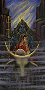 Shiva Prints - Shiva Parvati. Night in Himalayas Print by Vrindavan Das
