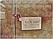 Lock Framed Prints Prints - Sick Bay Print by Michelle Greene Wheeler