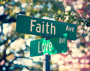 Street Signs Digital Art Posters - Signs of Faith and Love Poster by Sonja Quintero