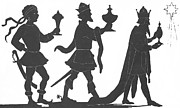 3 Paintings - Silhouette of Three Kings by English School