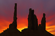 Mike McGlothlen - Silhouette of Totem Pole After Sunset -...