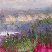 River View Paintings - Silver and Gold - Matanuska canyon cliffs river fireweed by Talya Johnson