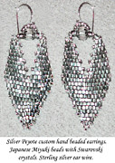 Sterling Silver Art - Silver Peyote Earrings by Jennie Breeze