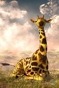 Daniel Digital Art Framed Prints - Sitting Giraffe Framed Print by Daniel Eskridge