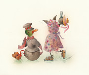 Christmas Drawings Originals - Skating Ducks 10 by Kestutis Kasparavicius