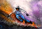 Skiing Art Posters - Skiing 02 Poster by Miki De Goodaboom