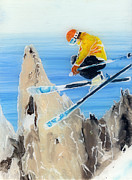 Skiing Art Painting Posters - Skiing at Flegere Poster by Sara Pendlebury