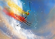 Jumping Mixed Media Framed Prints - Skijumping 01 Framed Print by Miki De Goodaboom