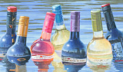 Wine Bottle Paintings - Skinny Dipping by Will Enns