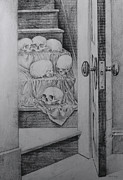 Staircase Drawings - Skulls On Staircase by Robert Tracy