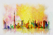 Dubai Paintings - Skyline Collage  by Corporate Art Task Force