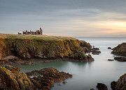 North Sea Photo Prints - Slains Castle Sunrise Print by David Bowman