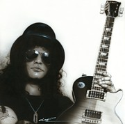 Musicians Framed Prints Paintings - Slash by Christian Chapman Art