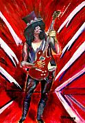 Popart Drawings Prints - Slash Guitar art Print by Tom Conway