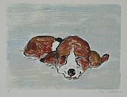 Sleeping Dog Mixed Media Posters - Sleepyhead Poster by Cori Solomon