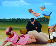Baseball Painting Posters - Sliding Home Poster by Anthony Dunphy