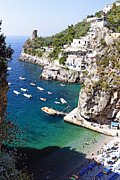 Southern Italy Framed Prints - Small Beach at the Amalfi Coast Framed Print by George Oze