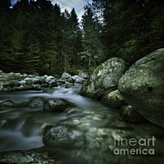 World Rock Posters - Small River Flowing Over Big Stones Poster by Evgeny Kuklev