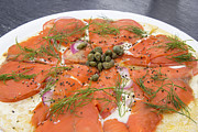 Italian Meal Framed Prints - Smoked Salmon Pizza Closeup Framed Print by JPLDesigns