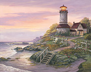 Lighthouse Sunset Prints - Smooth Sailing Print by Michael Humphries