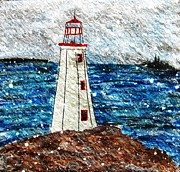 Fishermen Drawings - Snow and Wind Lighthouse by Barbara Griffin