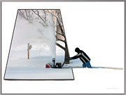 Snow Posters Digital Art Posters - Snow Blower Poster by Thomas Woolworth
