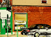 Depanneur Art - Snow In Spring Wilensky Deli Green Door And Brick Wall Plateau Montreal City Scene Carole Spandau by Carole Spandau