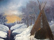 Barbara Haviland Framed Prints - SnowFall and TeePee Framed Print by Barbara Haviland