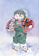 Christmas Card Originals - Snowman 2013 by Marsha Elliott