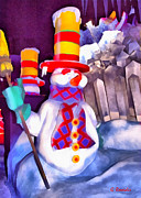 Silent Night Paintings - Snowman by George Rossidis