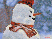 North Pole Paintings - Snowman portrait by George Rossidis