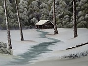 Snowscape Paintings - Snowy Cabin by John Koehler