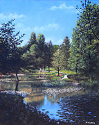 Tall Trees Paintings - Southampton Hillier Gardens late summer by Martin Davey