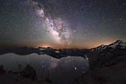 Crater Lake Twilight Prints - Sparkling Night in Crater Lake Print by Yoshiki Nakamura