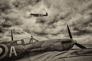 Spitfire Photos - Spitfire flypast by Graham Moore