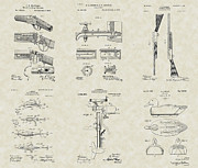 Technical Art Drawings Prints - Sportsman Outdoors Patent Collection Print by PatentsAsArt