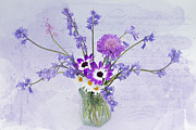 Pericallis Senetti Prints - Spring Flowers in a Jam Jar Print by Ann Garrett