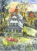 Old Farm Drawings - Springtime Down on the Farm by Carol Wisniewski