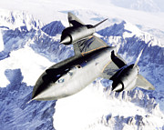 Sr-71 Posters - SR-71 Over Snow Capped Mountains Poster by Robin B E Muirhead Esq