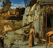 Italian Landscape Paintings - St Francis of Assisi in the Desert by Giovanni Bellini