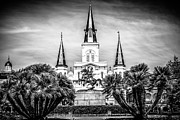 Historic Statue Framed Prints - St. Louis Cathedral in New Orleans Black and White Picture Framed Print by Paul Velgos